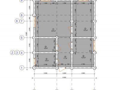 Чертеж дома из дерева 63,5 м2. План 1-ого этажа. Артикул: ЖД ПД-20150701.