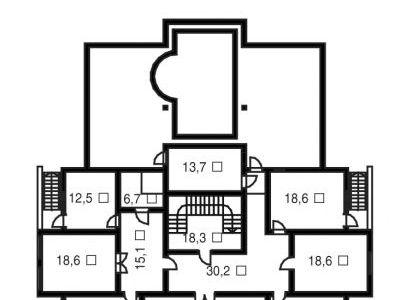 Чертеж дома из дерева 774,1 м2. План цокольного этажа. Артикул: ВТ-ПД-2008/30.