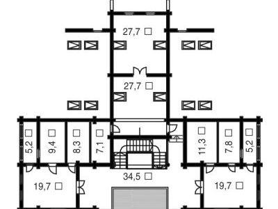 Чертеж дома из дерева 774,1 м2. План мансарды. Артикул: ВТ-ПД-2008/30.
