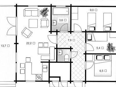 Чертеж дома из дерева 72,9 м2. План 1-ого этажа. Артикул: ВТ-ПД-2008/1.