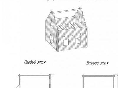 Чертеж дома из дерева 56,18 м2. План 1-ого и 2-ого этажа. Артикул: ВТ-ПД-2008/2.