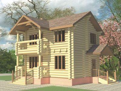 Фотография дома из дерева 69,3 м2. 2 этажа. Артикул: ВТ-ПД-2008/4.