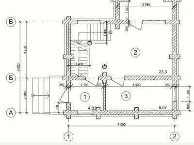 Чертеж дома из дерева 69,3 м2. Планировка 1-ого этажа. Артикул: ВТ-ПД-2008/4.