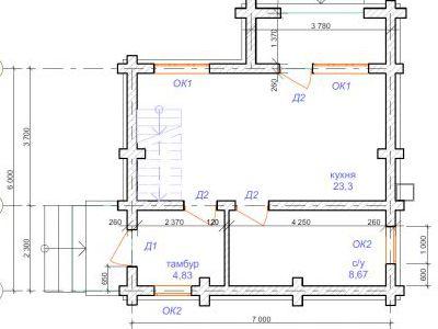 План первого этажа дома на 69,3 м2