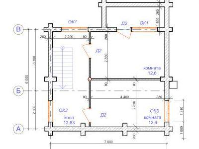 План второго этажа дома на 69,3 м2