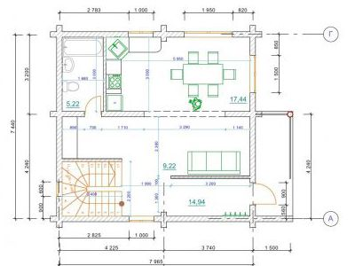 Чертеж дома из дерева 99 м2. План 1-го этажа. Артикул: ПД-20131201.