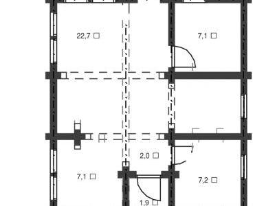 Чертеж дома из дерева 106,3 м2. Планировка 1-ого этажа. Артикул: ВТ-ПД-2008/5.