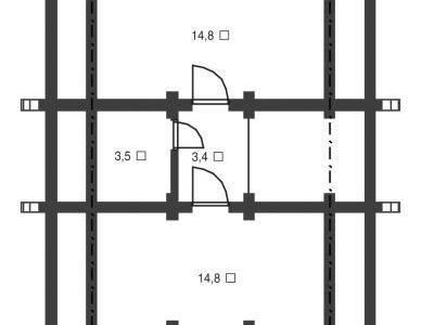 Чертеж дома из дерева 106,3 м2. Планировка мансардного этажа. Артикул: ВТ-ПД-2008/5.
