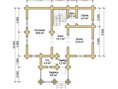 Чертеж дома из дерева 108,5 м2. План 1-го этажа. Артикул: ПД-06012015.