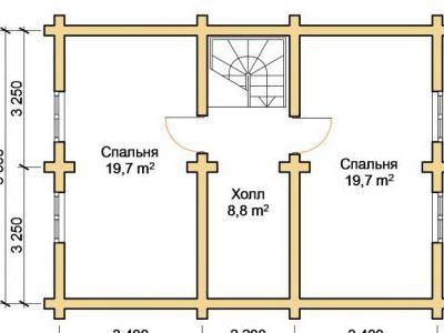 Чертеж дома из дерева 108,5 м2. План 2-го этажа. Артикул: ПД-06012015.