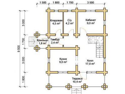 Чертеж дома из дерева 110,9 м2. План 1-го этажа. Артикул: ПД-03012015.