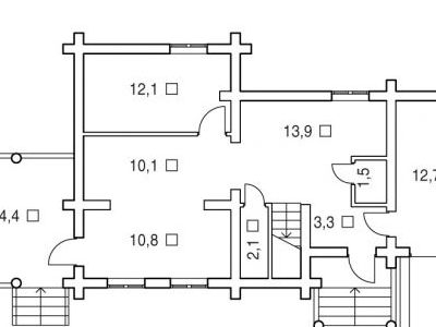 Чертеж дома из дерева 119,3 м2. План 1-ого этажа. Артикул: ВТ-ПД-2008/7.