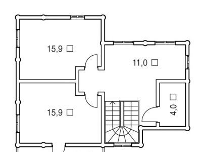 Чертеж дома из дерева 119,3 м2. План 2-ого этажа. Артикул: ВТ-ПД-2008/7.