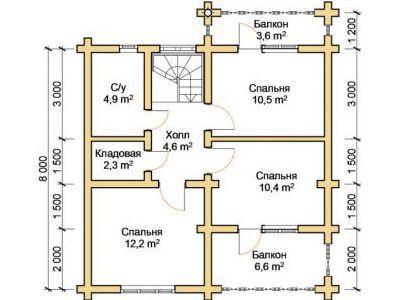 Чертеж дома из дерева 127,6 м2. План 2-го этажа. Артикул: ПД-07012015.