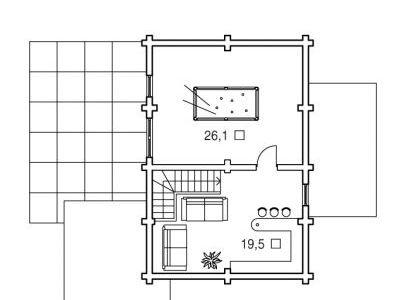 Чертеж дома из дерева 132,3 м2. План мансарды. Артикул: ВТ-ПД-2008/8.
