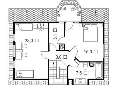 Чертеж дома из дерева 134 м2. План 2-ого этажа. Артикул: ВТ-ПД-2008/9.