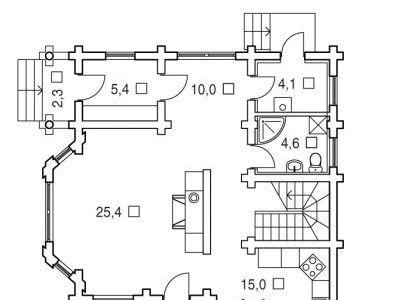 Чертеж дома из дерева 149,6 м2. План 1-ого этажа. Артикул: ВТ-ПД-2008/10.