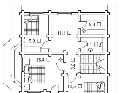 Чертеж дома из дерева 149,6 м2. План 2-ого этажа. Артикул: ВТ-ПД-2008/10.