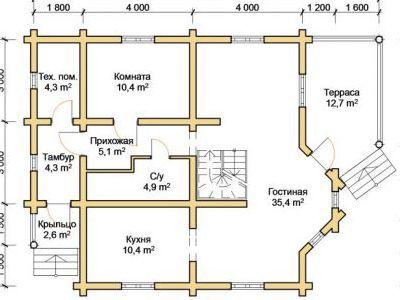 Чертеж дома из дерева 151,6 м2. План 1-го этажа. Артикул: ПД-09012015.