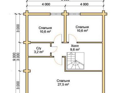 Чертеж дома из дерева 151,6 м2. План 2-го этажа. Артикул: ПД-09012015.