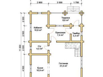 Чертеж дома из дерева 151,8 м2. План 1-го этажа. Артикул: ПД-04012015.