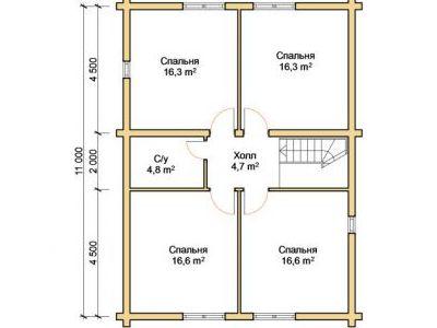 Чертеж дома из дерева 151,8 м2. План 2-го этажа. Артикул: ПД-04012015.