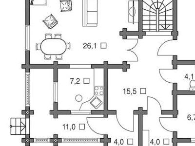 Чертеж дома из дерева 162,9 м2. План 1-ого этажа. Артикул: ВТ-ПД-2008/12.