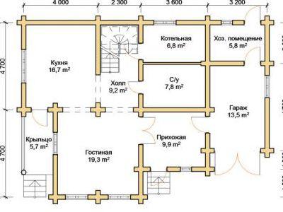 Чертеж дома из дерева 164,1 м2. План 1-го этажа. Артикул: ПД-29012015.
