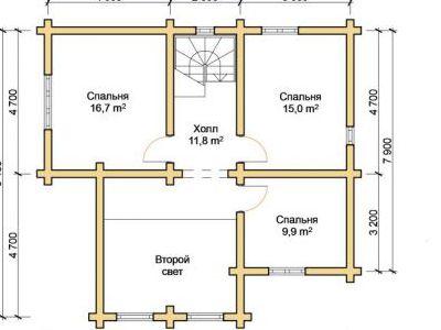 Чертеж дома из дерева 164,1 м2. План 2-го этажа. Артикул: ПД-29012015.
