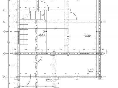 Чертеж дома из дерева 168 м2. План 1-го этажа. Артикул: ПД-01092014.