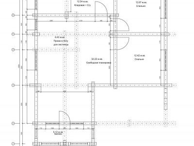 Чертеж дома из дерева 168 м2. План 2-го этажа. Артикул: ПД-01092014.