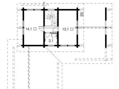 Чертеж дома из дерева 169,7 м2. План мансарды. Артикул: ВТ-ПД-2008/13.