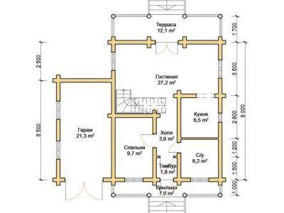 Чертеж дома из дерева 174 м2. План 1-го этажа. Артикул: ПД-17012015.