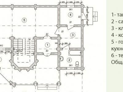 Чертеж дома из дерева 185,6 м2. Планировка 1-ого этажа. Артикул: ВТ-ПД-2008/16.