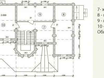 Чертеж дома из дерева 185,6 м2. Планировка мансардного этажа. Артикул: ВТ-ПД-2008/16.