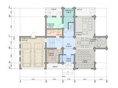 Чертеж дома из дерева 187 м2. План 1-ого этажа.