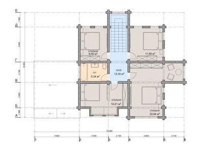 Чертеж дома из дерева 187 м2. План 2-ого этажа.
