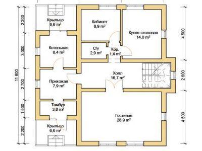Чертеж дома из дерева 193 м2. План 1-го этажа. Артикул: ПД-26012015.