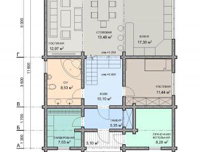 Чертеж дома из дерева 210,34 м2. План 1-ого этажа. Артикул: ЖД.ПД.2017.01.15.