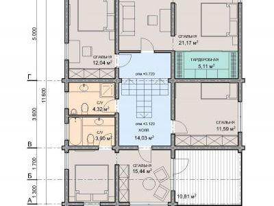 Чертеж дома из дерева 210,34 м2. План 2-ого этажа. Артикул: ЖД.ПД.2017.01.15.