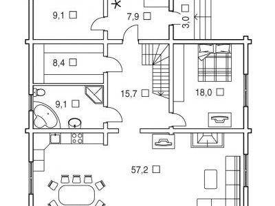 Чертеж дома из дерева 222,4 м2. План 1-ого этажа. Артикул: ВТ-ПД-2008/17.