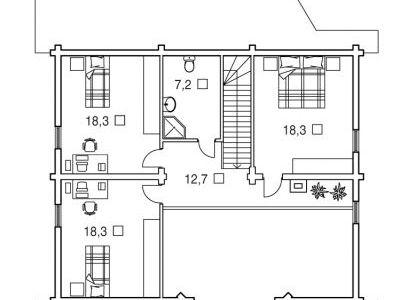 Чертеж дома из дерева 222,4 м2. План 2-ого этажа. Артикул: ВТ-ПД-2008/17.