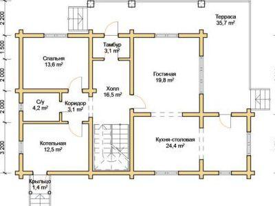 Чертеж дома из дерева 223,5 м2. План 1-го этажа. Артикул: ПД-28012015.