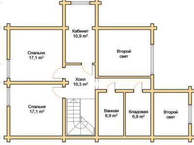 Чертеж дома из дерева 223,5 м2. План 2-го этажа. Артикул: ПД-28012015.