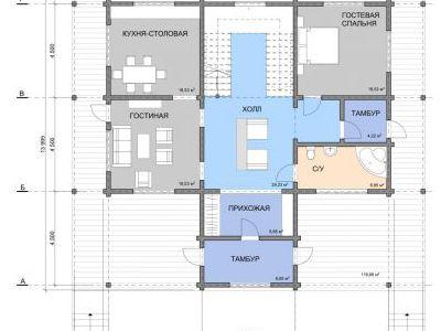 Чертеж дома из дерева 225 м2. План 1-ого этажа.
