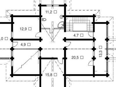Чертеж дома из дерева 238,5 м2. План мансарды. Артикул: ВТ-ПД-2008/18.
