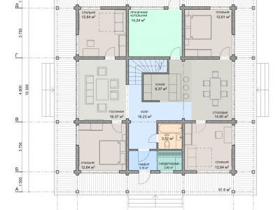 Чертеж дома из дерева 257 м2. План 1-ого этажа.