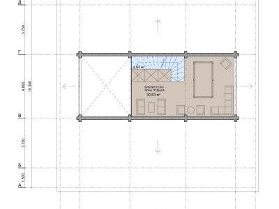 Чертеж дома из дерева 257 м2. План 2-ого этажа.