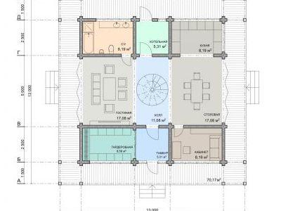 Чертеж дома из дерева 320 м2. План 2-ого этажа.
