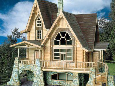 Фотография дома из дерева 170 м2. 2 этажа. Артикул: ВТ-ПД-2008/14.